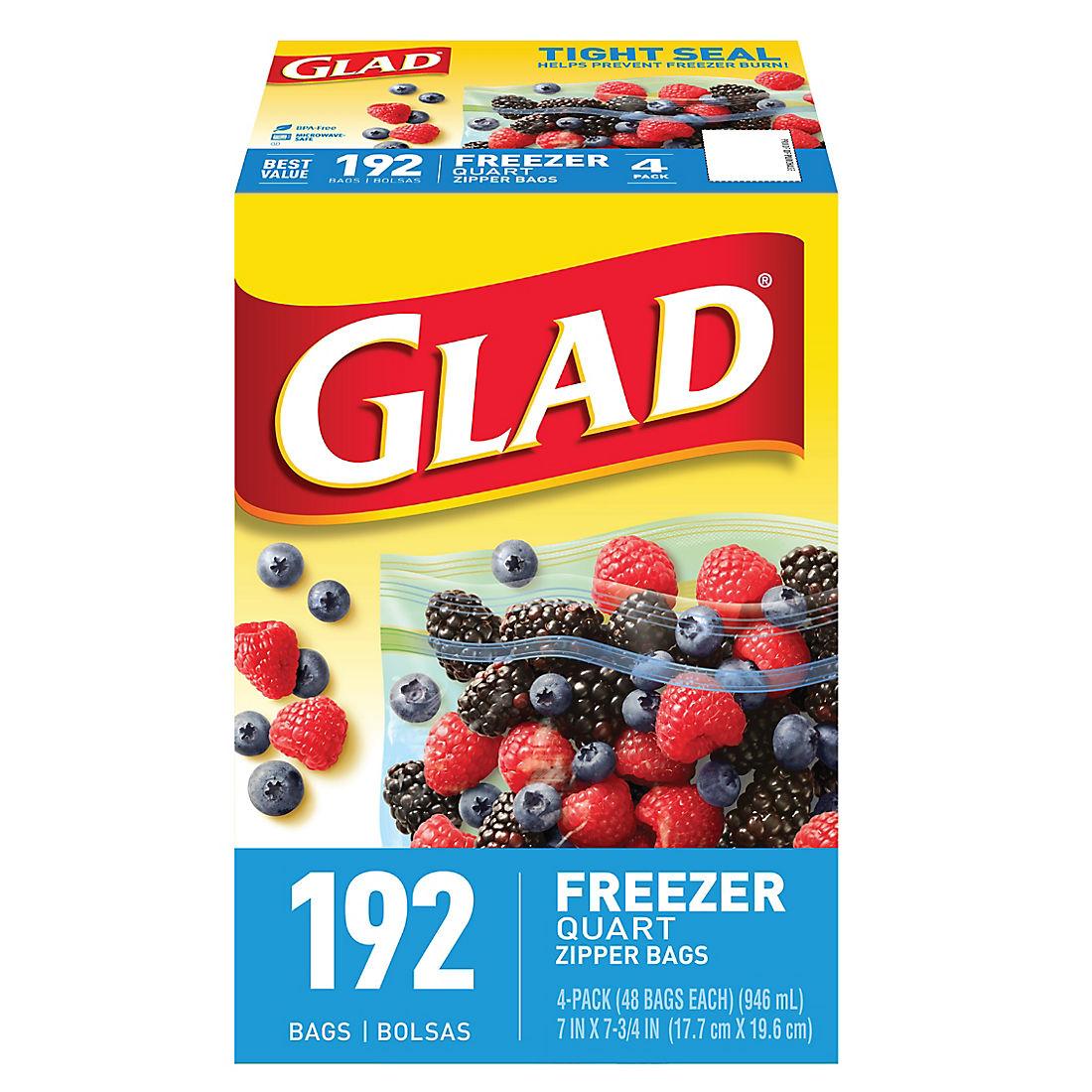 Glad 1-Qt  Plastic Zipper Freezer Bags, 4 pk /48 ct  - Clear Blue