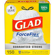 Glad 13-Gal. Tall Kitchen Drawstring Plastic Trash Bags, 150 ct. - White