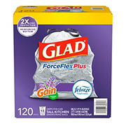Glad 13-Gal. ForceFlex OdorShield Lavender Drawstring Plastic Trash Bags, 120 ct. - White