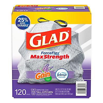 Glad 13-Gal. ForceFlex OdorShield Lavender Drawstring Plastic Trash Ba