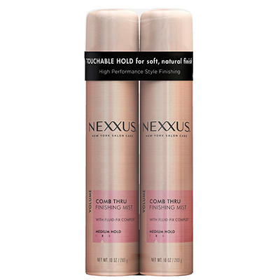 Nexxus Salon Hair Care Comb Thru Touchable Hold Finishing Spray, 2 pk.