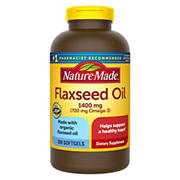 Nature Made 1,400mg Flaxseed Oil Liquid Softgels, 300 ct.