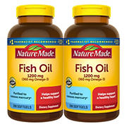 Nature Made 1,200mg Fish Oil Liquid Softgels, 2 pk./200 ct.