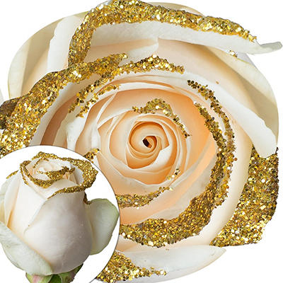 White Glitter Rose, 100 ct. - Gold