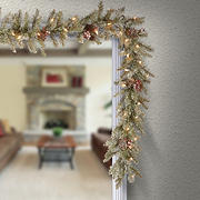 """National Tree Company 9' x 10"""" Pre-Lit and Decorated Artificial Dunhill Fir Garland - Clear"""