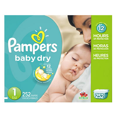 Pampers Baby Dry Diapers, Size 1, 252 ct.