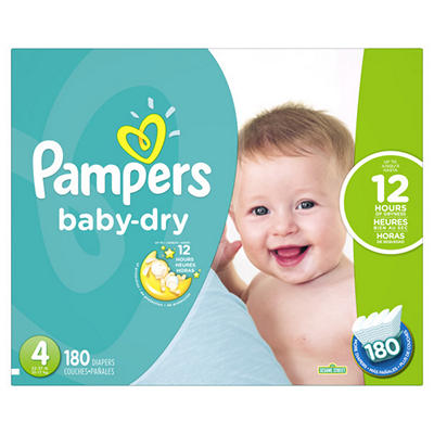 Pampers Baby Dry Diapers, Size 4, 180 ct.