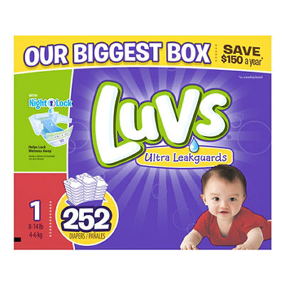 Luvs Size 1 Diapers, 252 ct.