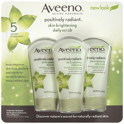 Aveeno Positively Radiant Skin Brightening Exfoliating Daily Scrub, 3
