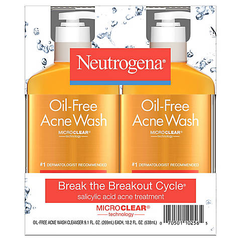Neutrogena Oil Free Acne Face Wash With Salicylic Acid 2 Pk 9 1