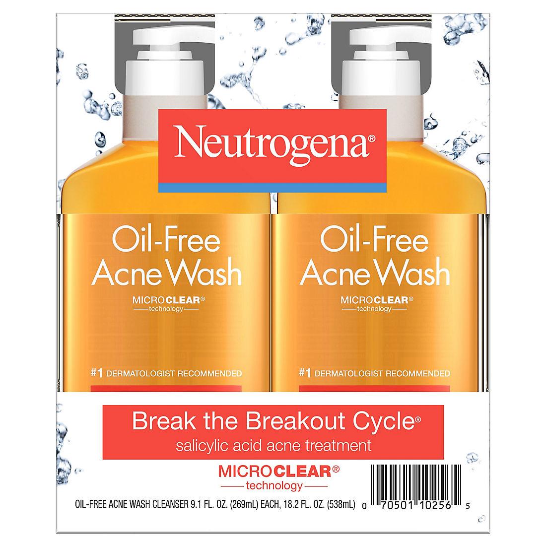 Neutrogena Oil-Free Acne Face Wash with Salicylic Acid, 2 pk /9 1 oz