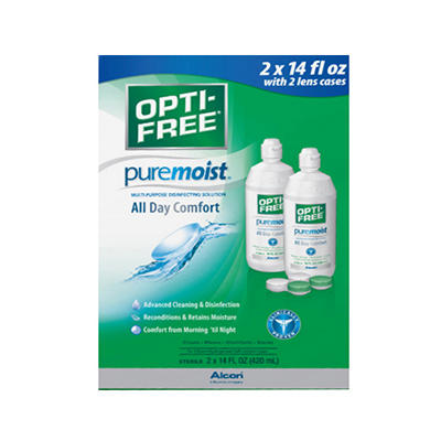 Opti-Free PureMoist Contact Lens Care Solution, 2 pk./14 fl. oz. with