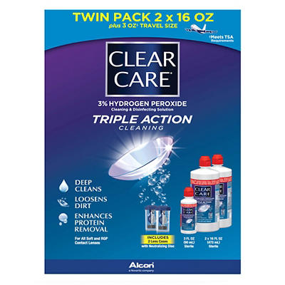 Clear Care Contact Lens Care Solution, 2 pk./16 fl. oz. with Bonus Tra
