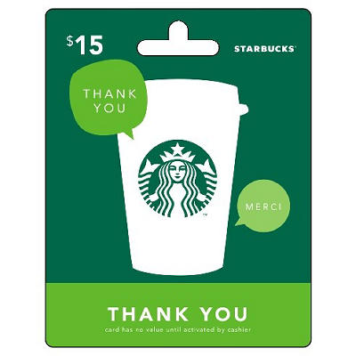 $15 Starbucks Gift Card - Thank You