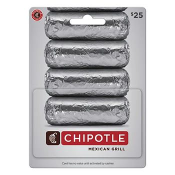 $25 Chipotle Mexican Grill Gift Card