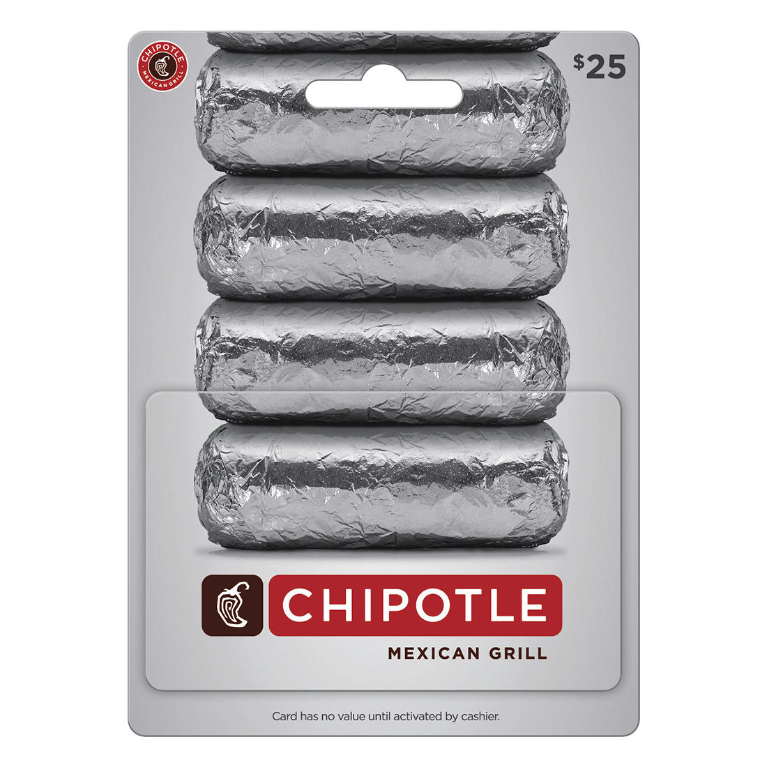 photo about Chipotle Printable Coupon titled $25 Chipotle Mexican Grill Present Card