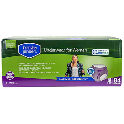 Berkley Jensen Incontinence Underwear for Women with Maximum Absorbency, Size Large, 84 ct.