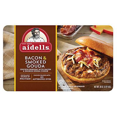 Aidells Bacon & Smoked Gouda Burgers, 10 ct.