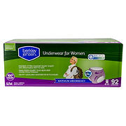 Berkley Jensen Incontinence Underwear for Women with Maximum Absorbency, Size S/M, 92 ct.