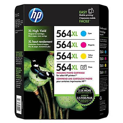 HP 564XL Color/Photo Ink Cartridges, 4 pk.