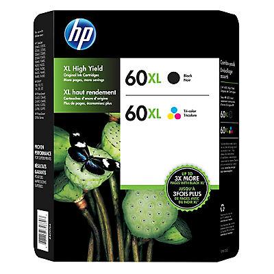 HP 60XL Black/Color Combo Ink Cartridges, 2 pk.
