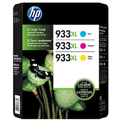HP 933XL Color Ink Cartridges, 3 pk.