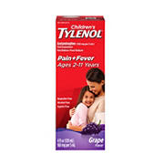 Children's Grape Flavored Tylenol Oral Suspension Fever Reducer and Pain Reliever, 2 pk./4 fl. oz.