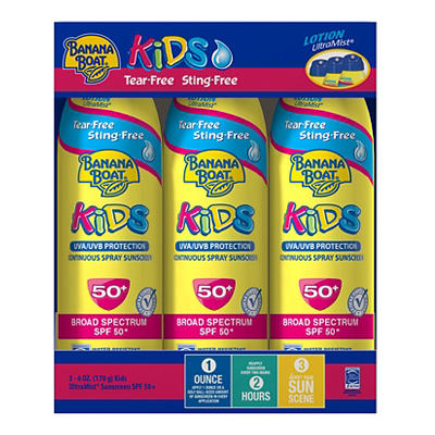 Banana Boat Kids SPF 50 C-Spray, 3 pk./6 oz.