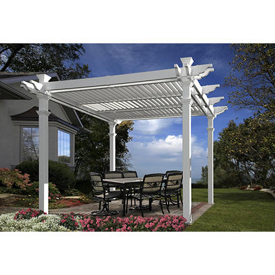 New England Arbors 10' x 10' Vinyl Louvered Pergola - White
