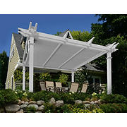 New England Arbors 12' x 12' Vinyl Louvered Pergola - White