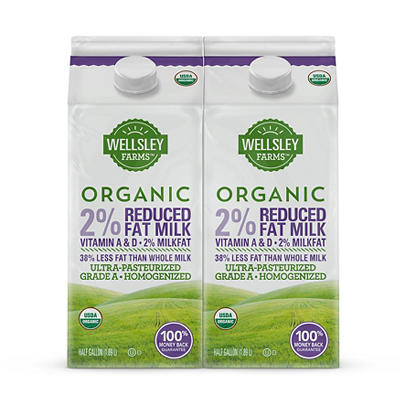 Wellsley Farms Organic 2% Reduced Fat Milk, 2 pk./0.5 gal.