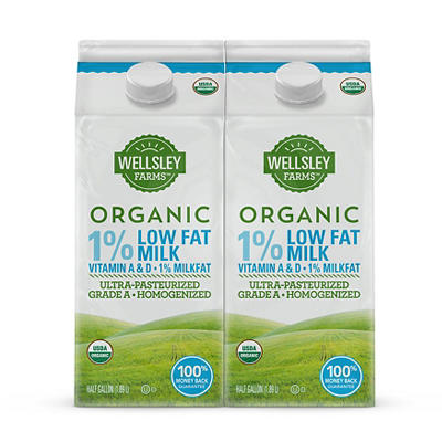 Wellsley Farms Organic 1% Low Fat Milk, 2 pk./0.5 gal.