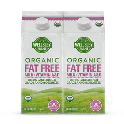 Wellsley Farms Organic Fat Free Milk, 2 pk./0.5 gal.