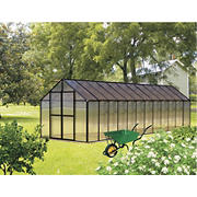 Riverstone Monticello 8' x 24' Premium Greenhouse Package with Bonus Work Station Kit - Black