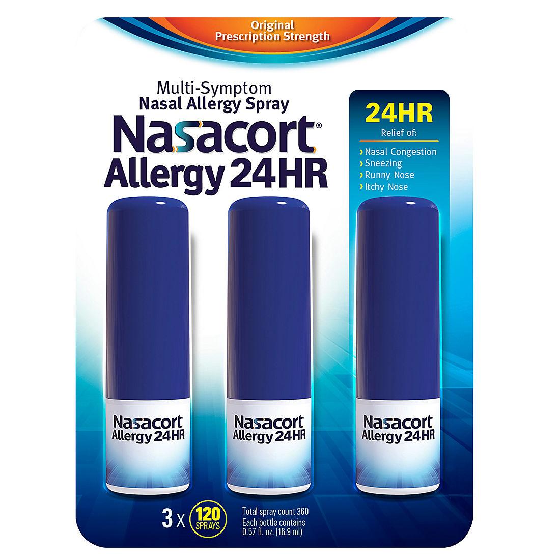photograph regarding Nasacort Coupon Printable identified as Nasacort Allergy 24-Hour Spray, 3 pk./0.57 oz.