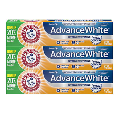 Arm & Hammer AdvanceWhite Extreme Whitening Toothpaste, 3 pk./7.2 oz.