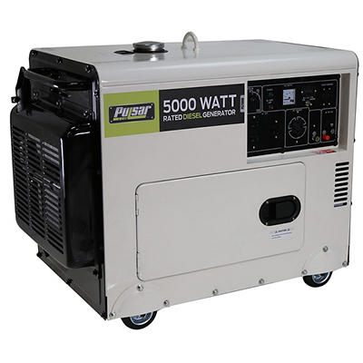Pulsar 7,000W Peak/5,000W Rated Diesel-Powered Portable Generator