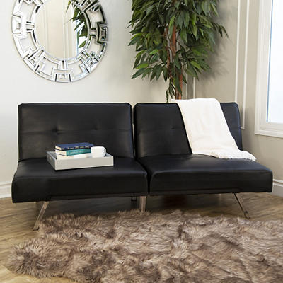 Abbyson Living Milano Faux Leather Convertible Sofa Black