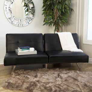 Abbyson Living Milano Faux Leather Convertible Sofa - Black - BJs ...