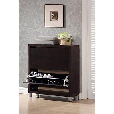 Baxton Studio Simms 2-Drawer Shoe Cabinet - Dark Brown