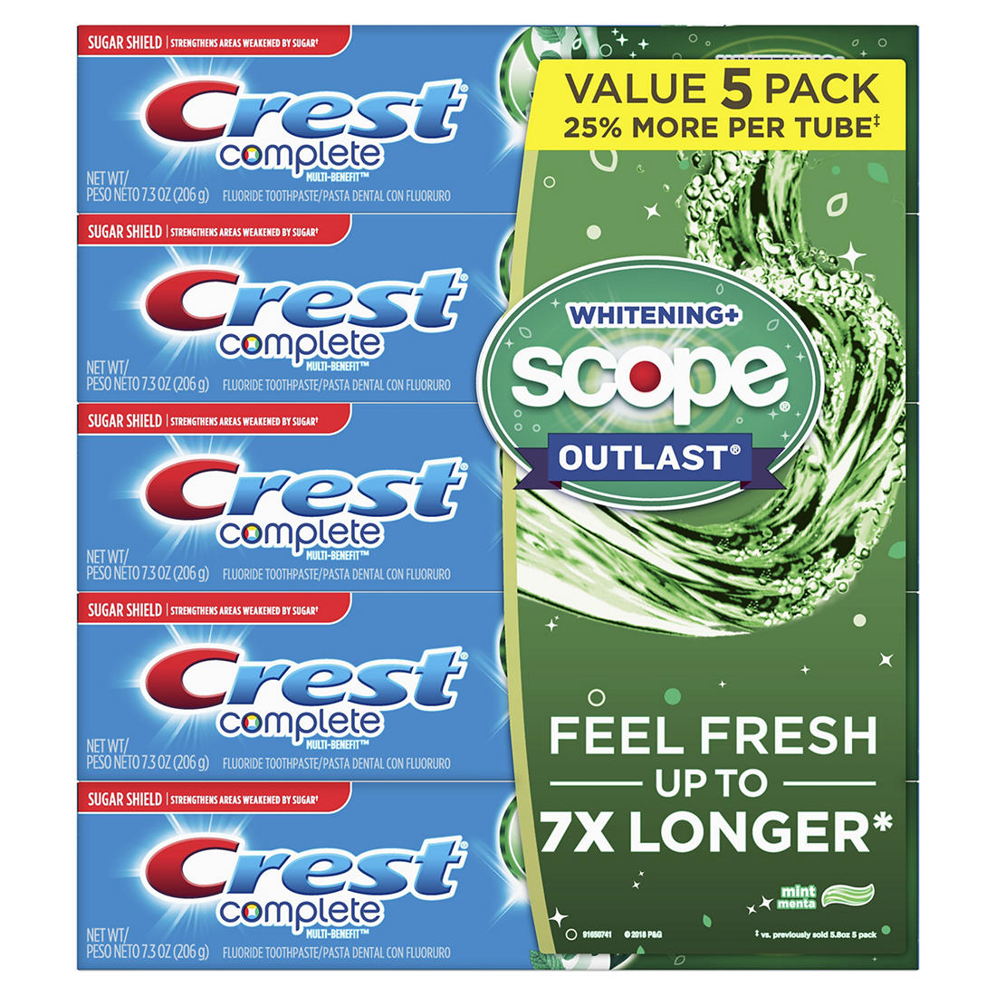 Crest Complete Whitening + Scope Mint Outlast Toothpaste, 5 pk /7 3 oz