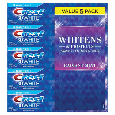 Crest 3D White Radiant Mint Whitening Toothpaste, 5 pk./5.4 oz.