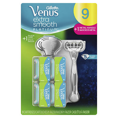 Gillette Venus Extra Smooth Platinum Razor with 9 Blade Refills and Ca