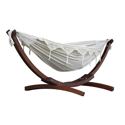 Vivere Solid Pine Arc Hammock Combo - Natural