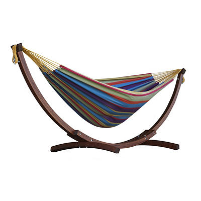 Vivere Solid Pine Arc Hammock Combo - Tropical