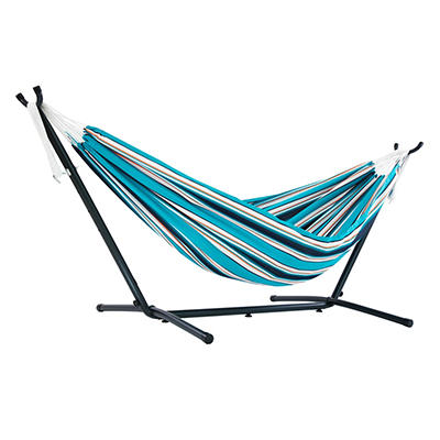 Vivere Double Sunbrella Hammock with Stand - Blue