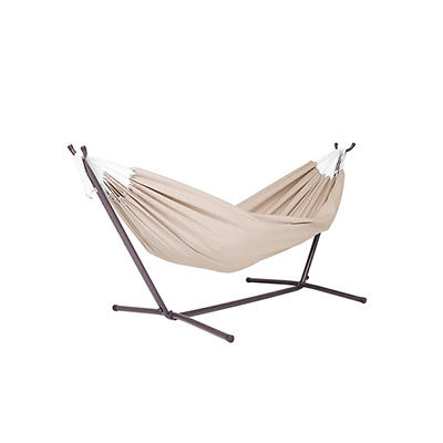 Vivere Double Sunbrella Hammock with Stand - Beige