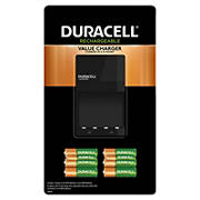 Duracell Rechargeable Value Charger with 6AA and 2 AAA NiMH Batteries