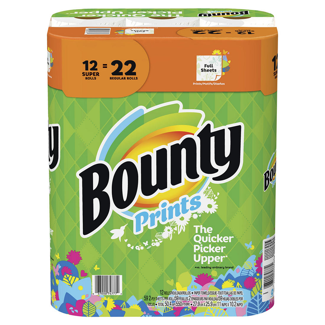 Bounty Super Roll Paper Towels, 12 pk  - Print