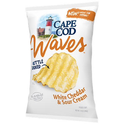 Cape Cod Waves White Cheddar & Sour Cream Potato Chips, 14 oz.